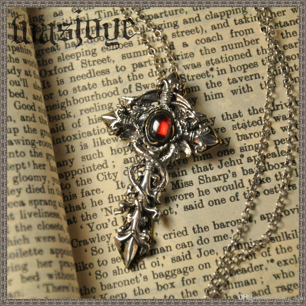 Creative men's vintage silver dragon cross pendant necklace personalized fashion 925 sterling silver jewelry best birthday/Christmas gifts