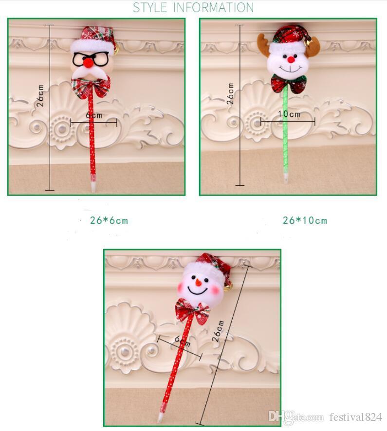 2017 New Kids Christmas Decoration Cute Gift Santa Claus Snowman Pens For Kids Colorful Xmas Cartoon Bells Ballpoint Pens School Supplies