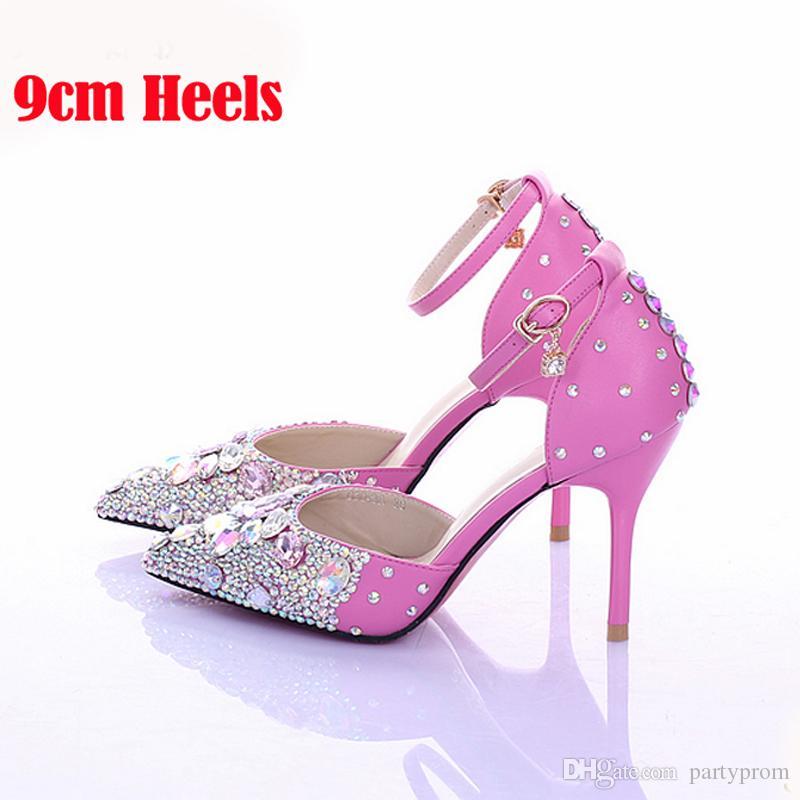 Lüks Lady Elmas Düğün Ayakkabı Pembe Crystsal Yüksek Topuk Gelin Ayakkabıları Seksi Sivri Burun Ayak Bileği Kayışı Balo Ayakkabı