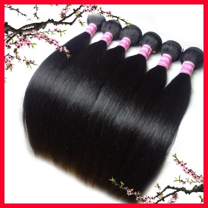 Дешевые бразильские волосы, прямые волосы, 6 частей / серия, 12-30 дюймов в выдвижениях волос Remy штока бразильских прямых, утке человеческих волос 100%