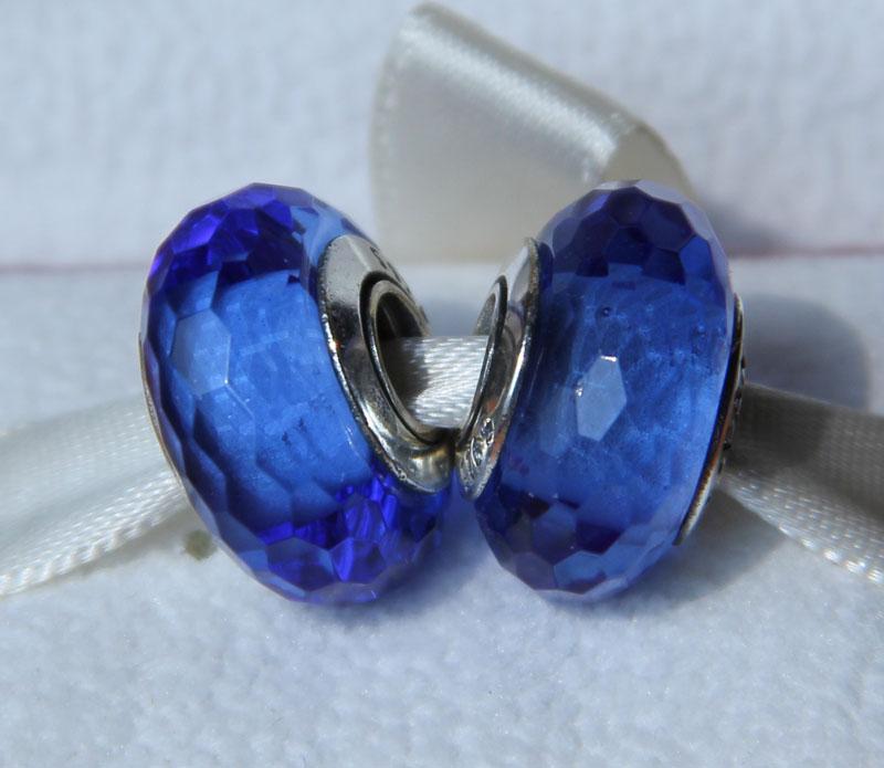 5 stks 925 Sterling Zilver Schroef Schroef Blauw Fascinerende Faceted Murano Glas Kralen Fit Pandora Chamilia Sieraden Charm Armbanden Ketting