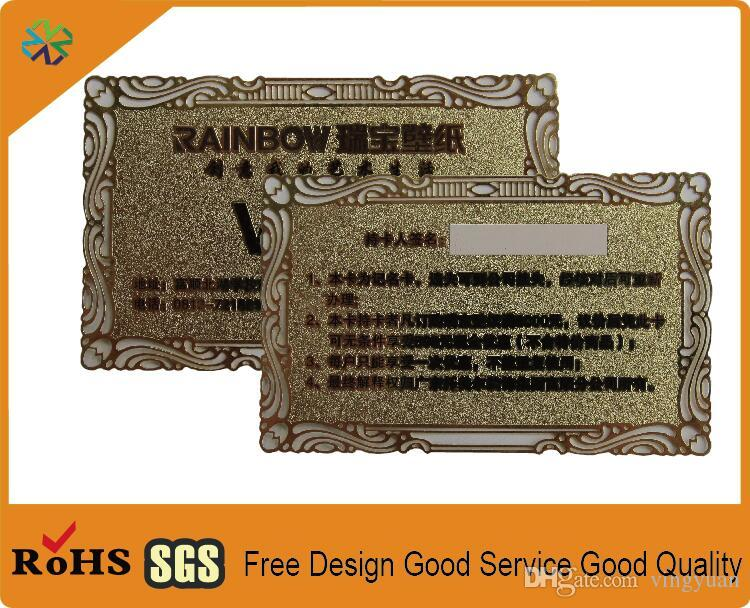 Benutzerdefinierte Größe Metall Edelstahl Material Wort Logo Gravur Gold Metall Visitenkarte