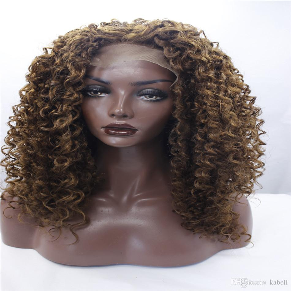 "LACE FRONT WIGS African American Kinky Curly Wig Mixed Brown Lace Front wigs Synthetic Hair 16"" inch Heat Resistant Japanese Fiber For Woman"