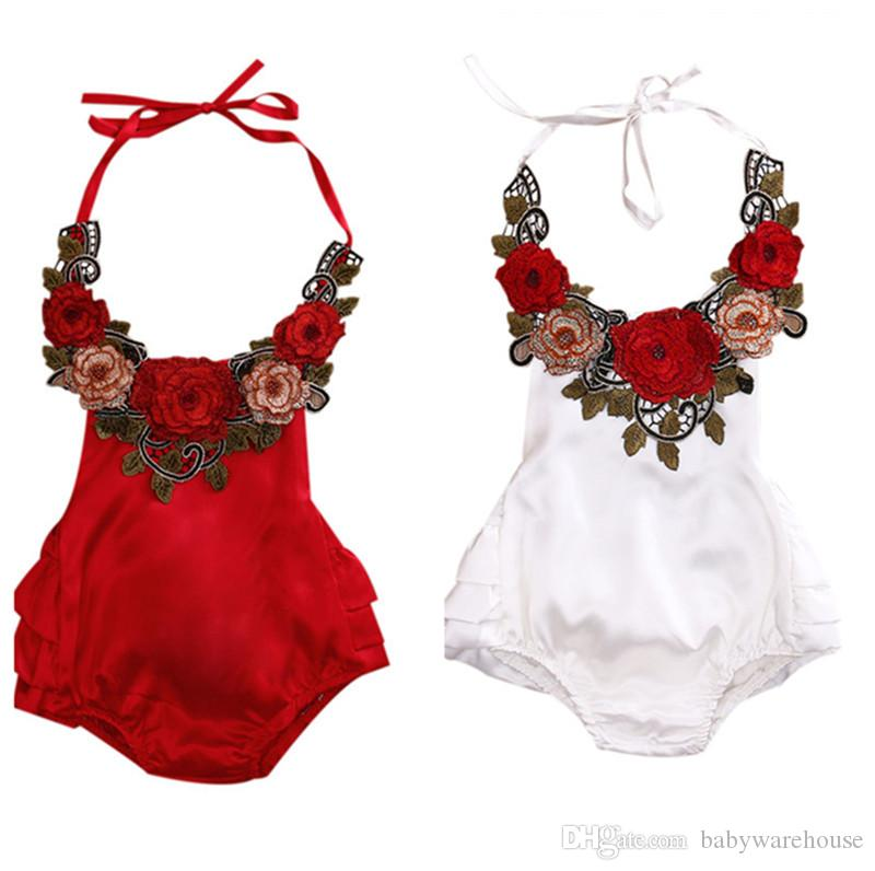 6c454b005bc 2019 Summer Baby Clothing Newborn Infant Kids Clothing Baby Girls Clothes Embroider  Backless Rose Flower Romper Jumpsuit Sunsuit Bodysuit Outfits From ...