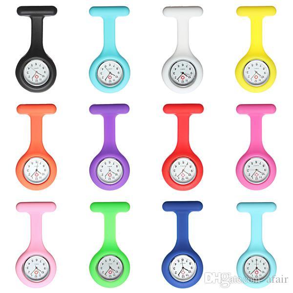 2016 Noel hediyesi Yeni Hemşire Tıbbi İzle Silikon Klip Cep Saatler Moda Hemşire Broş Fob Tunik Kapak Doktor silikon Kuvars saatler