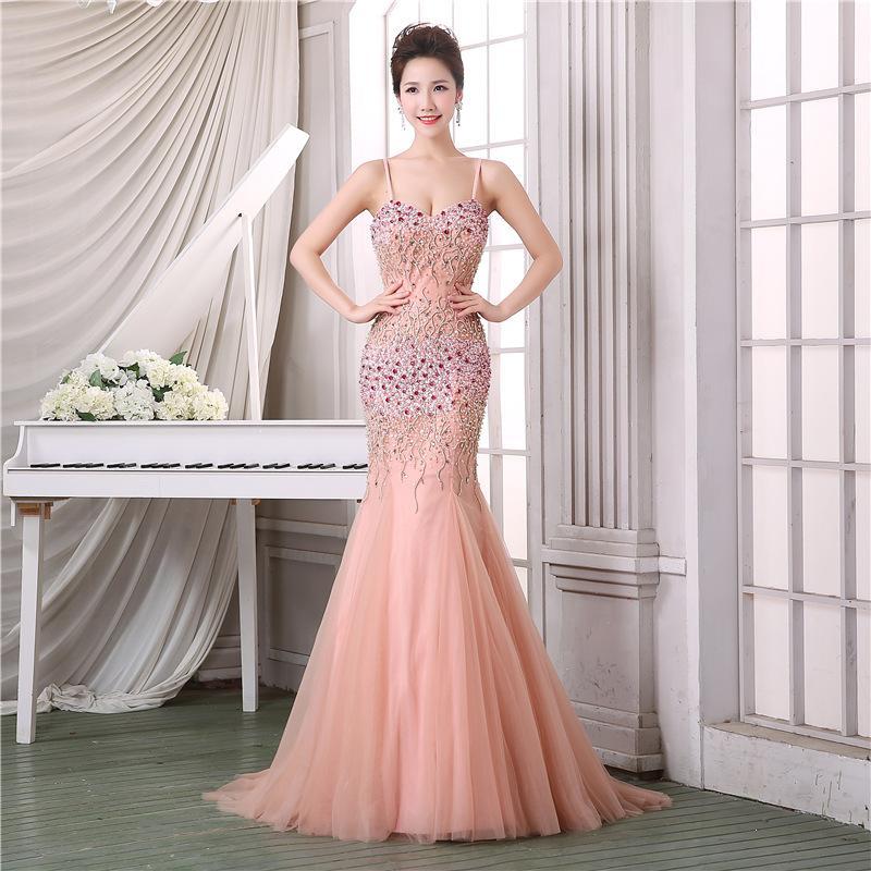 Compre Largo Vestido De Baile De Sirena Elegante Con El Amor Cristal ...