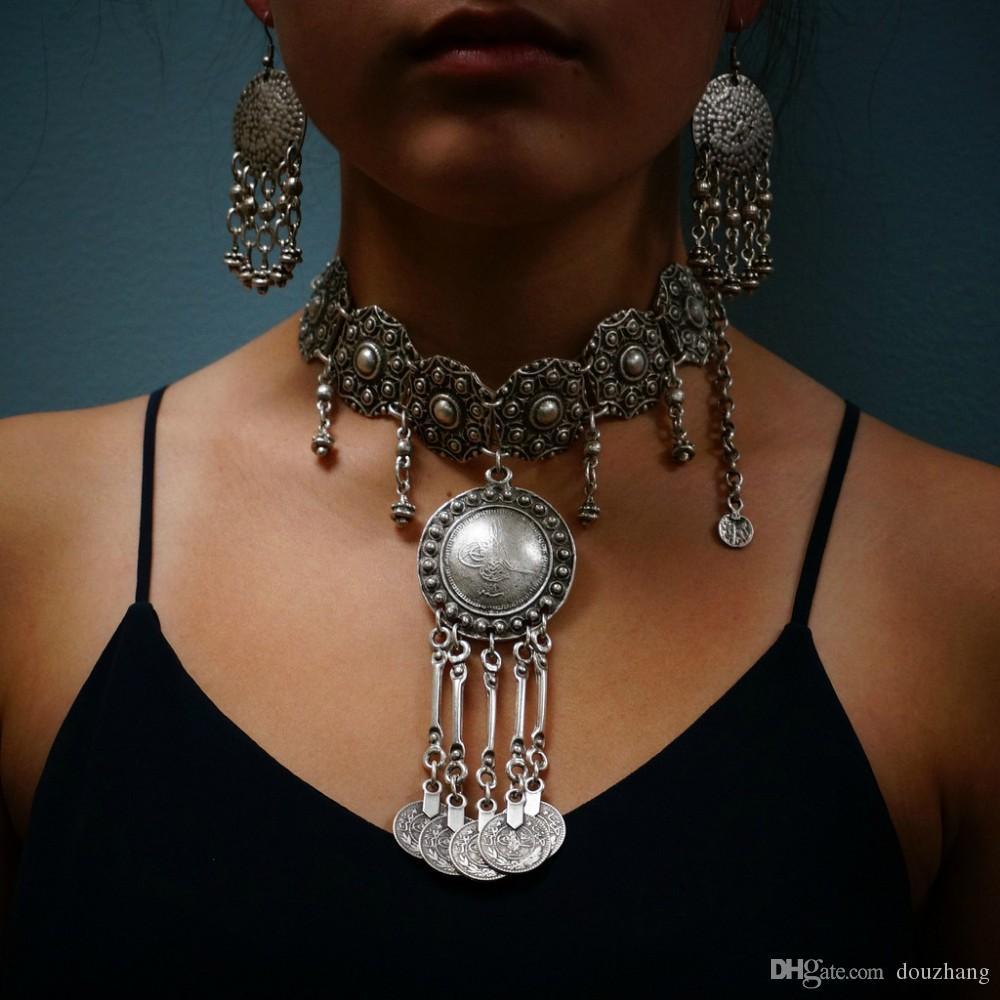 Boho vintage fleur de sculpture en argent grand métal charmes ronds tour de cou pendentifs pièce gland ethnique tribal femme bijoux