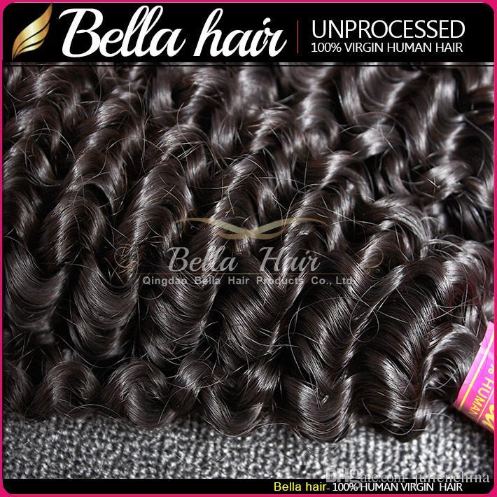 Bella Hair® 8A indische lockige Haarwebart-Einschlagfaden-Menschenhaar-Webart-unverarbeitete Jungfrau-lockige Haar-Erweiterungen 8 ~ 30in 3Bundles Freies Verschiffen