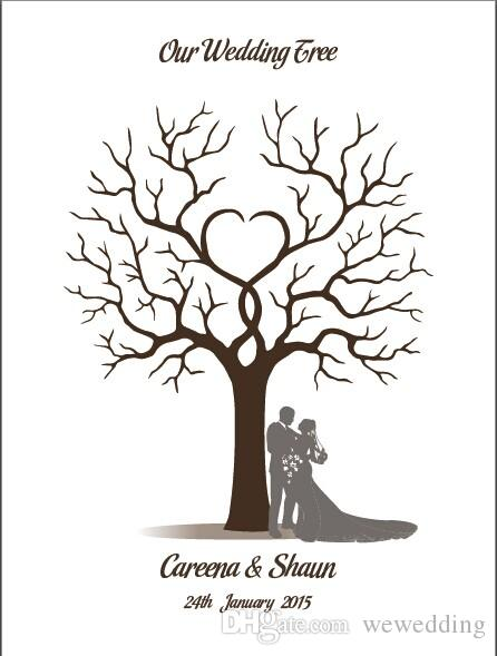 2018 Wedding Guestbook Fingerprint Tree Wedding Decorations From ...