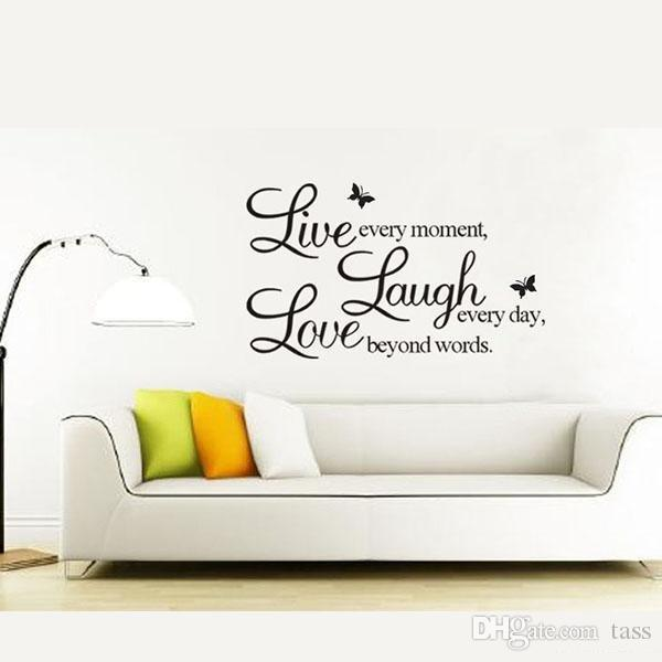Live Love Laugh Letters Transprent Waterproof Vinyl Wall Quotes Decal/PVC  Home Decor Wall Stickers Free Shipping