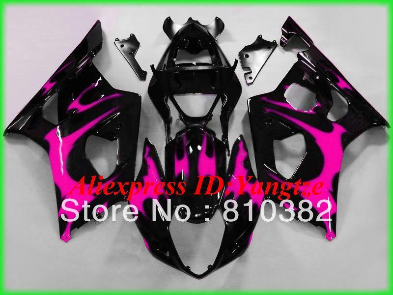 Kit de carenado de envío gratuito para SUZUKI GSXR 1000 03 04 GSXR 1000 GSX-R1000 K3 2003 2004 carenado de motocicleta negro rosa