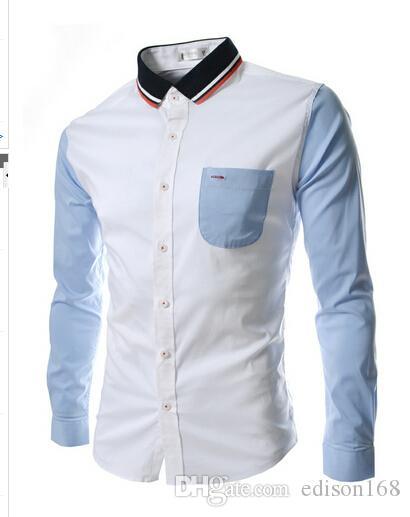 Ny Mode Mäns Slim Bomull Långärmad Split Gemensam Färg Skjortor Passa Stilig Klänningskjorta 2 Färgstorlek M-2XL CS32
