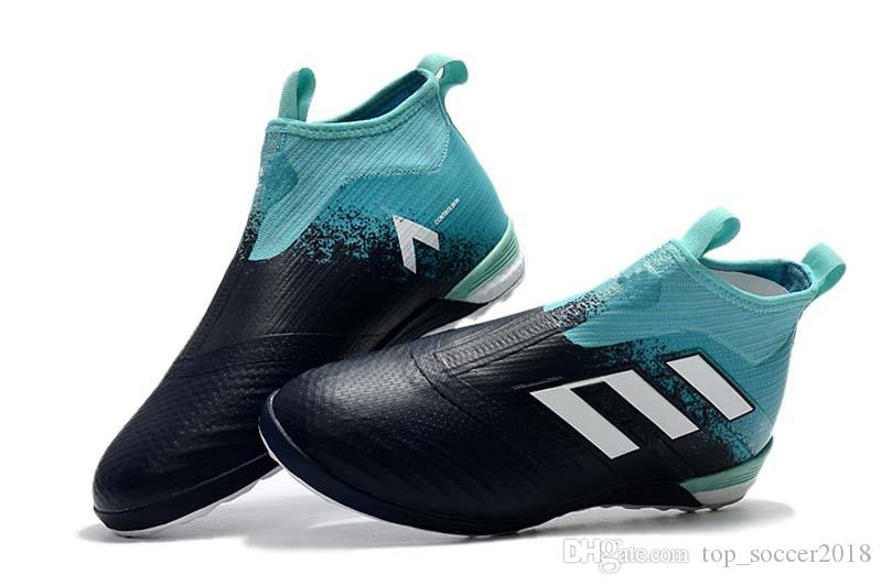 sports shoes f7335 a6f48 Compre Negro Azul Interior ACE Tango 17+ TF IC Purecontrol Fútbol Zapatos  2018 Venta Caliente Zapatos De Interior 100% Original Messi Botas De Fútbol  A ...