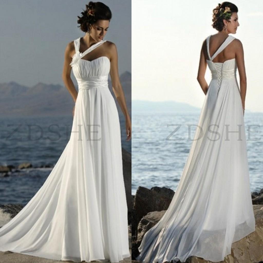 2015 Summer Beach Wedding Dresses Halter Pleated Empire