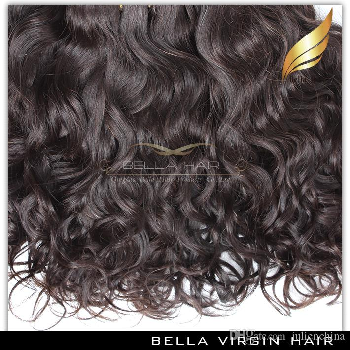 Bella Hair® Brasilianische Haarwebart Virgin Natürliche Farbe Welle Wellenförmige Erweiterungen Doppelschuss 8 ~ 30 Zoll /