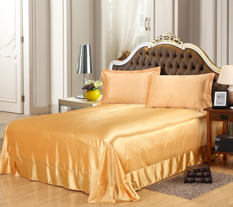 High Quality 100% Soft Skin Satin Silk Bed sheet Sham Solid Color Bedding Set Bedskirt Bed Sheets Wholesale