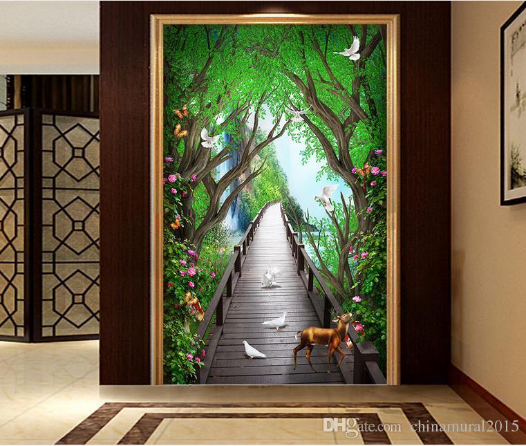 3d wallpaper for kitchen Beautiful dreamy wooden bridge elk flower vine wallpaper coloring
