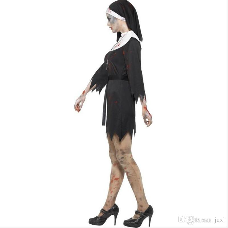 Women Lady Scary Bloody Nun Sister Cosplay Costume Stage Performance Costumes Halloween Masquerade Party Dress Supplies