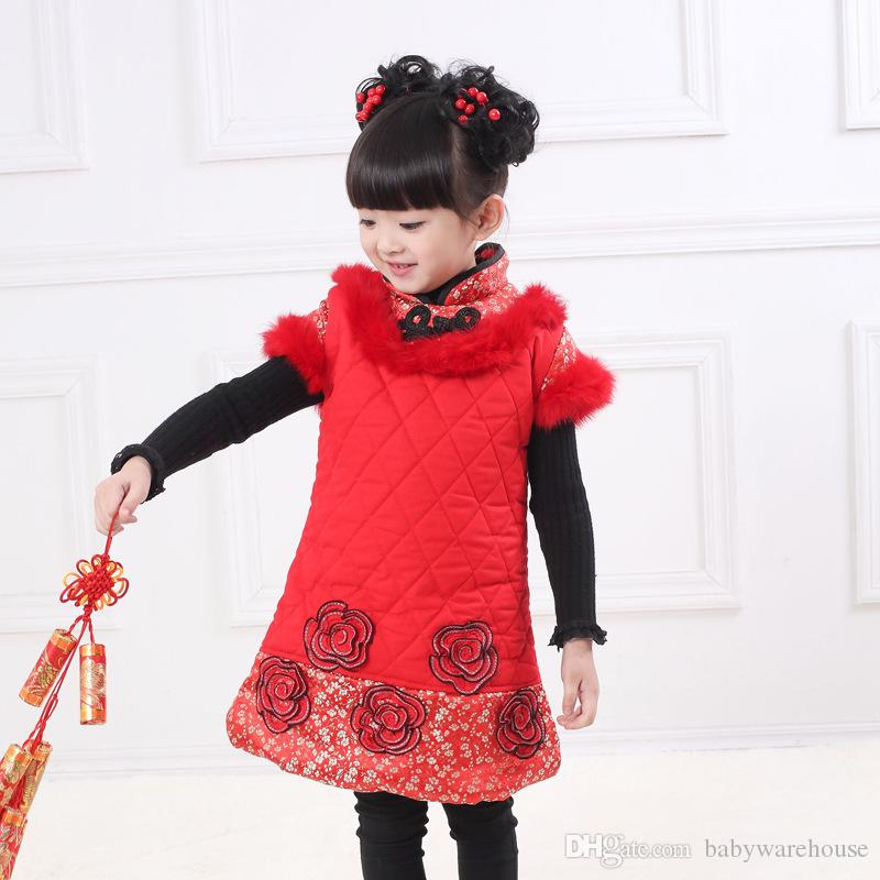 2018 Nouvel An Bébé Filles Vêtements Chinois Style Vest Robe De Noël Robe Enfants Enfant Enfants Robes Épais Hiver Chaud Robe Rouge Avec De La Fourrure