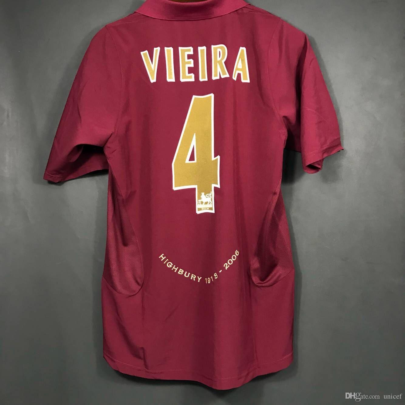 timeless design f6eac 59870 Maglia 2005 2006 Gunner Retro Soccer Jerseys Highbury 05-06 Patrick Vieira  Football Shirts Maroon Wine Flocked Name and number