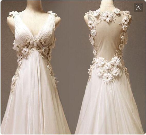 Goedkope chiffon beach bohemian trouwkleding backless handgemaakte bloemen kralen sexy bruids jurken ruches pailletten v-hals bruidsjurken