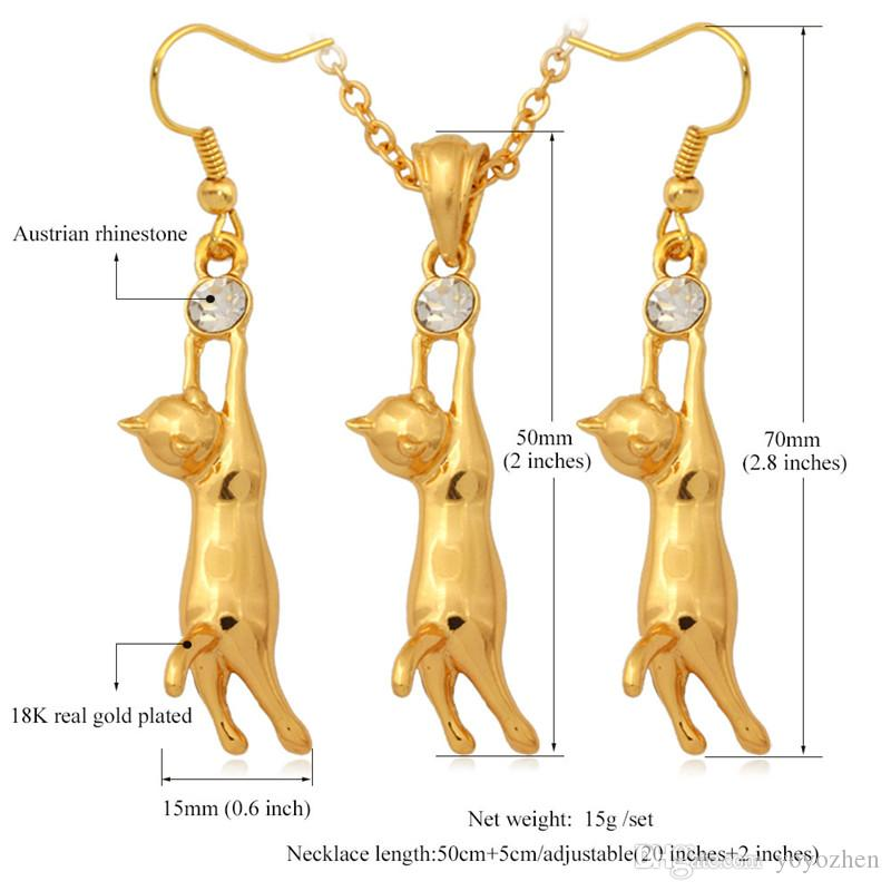 Belle 18K Plaqué Or Mignon Chat Pendentif Collier Boucles D'oreilles Strass Mode Bijoux Ensemble Cadeau pour Kid Filles