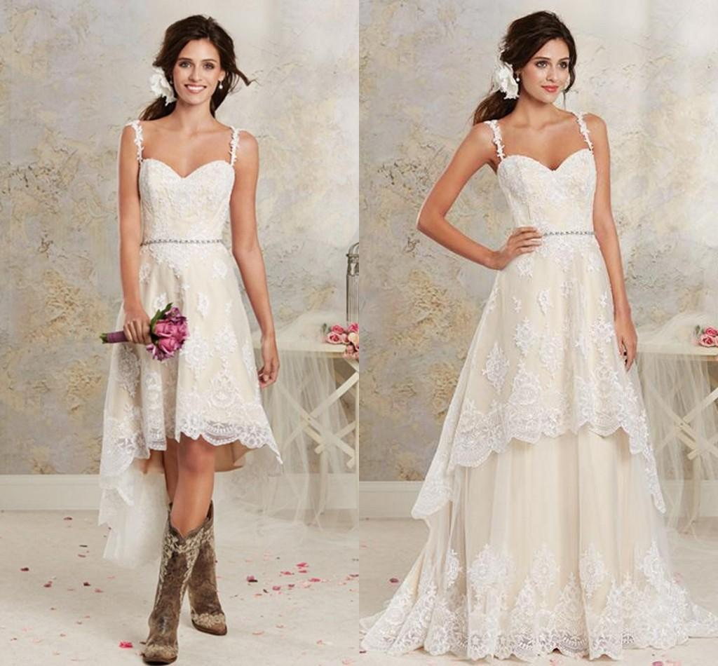 Discount Casual Light Chagne Lace High Low Country Wedding Dresses 2016 Cheap Spaghetti Applique Beaded Sash With Detachable Skirt En3046 A Line: Lace Wedding Dress Casual At Reisefeber.org