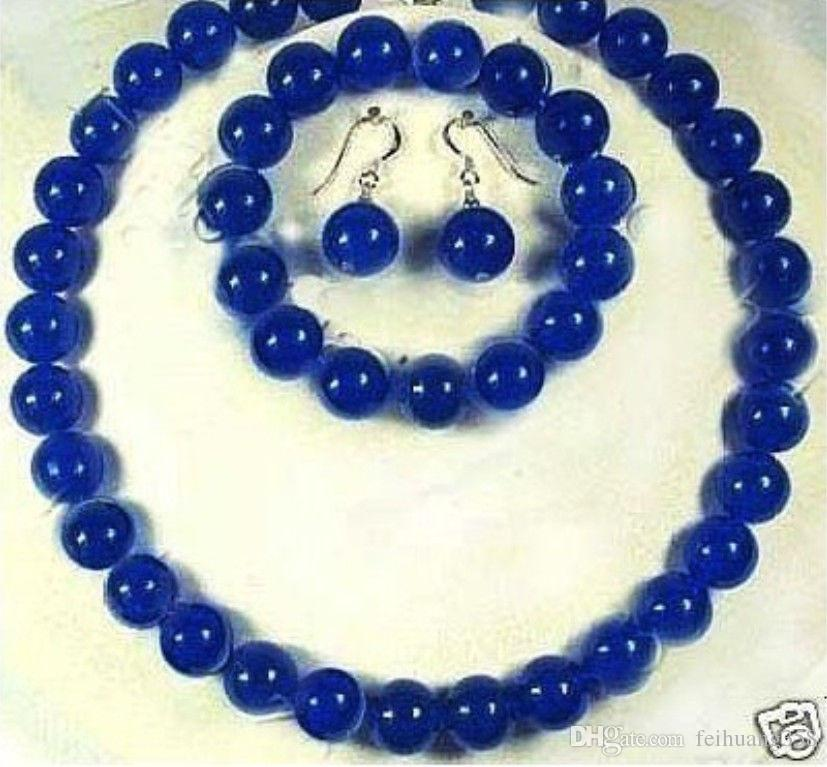 10 мм Сапфир ожерелье браслет серьги синий набор