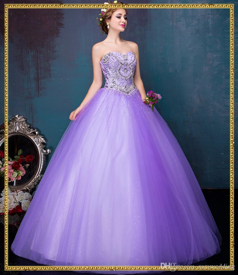 Abiti da sposa di lusso Ball Gown con Crystal 2018 Abiti da sposa lavanda Lace Up Abiti da sposa piano Lunghezza