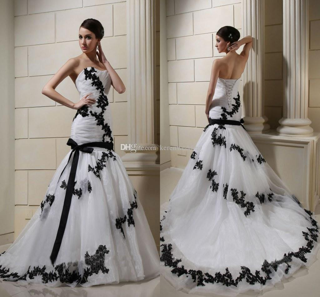 White And Black Lace Wedding Dresses 2015 Spring Applique Sweetheart Up Ruched Tulle Court Train Drop Waist Trumpet Mermaid Bridal Gown: Black Waist Wedding Dress At Websimilar.org