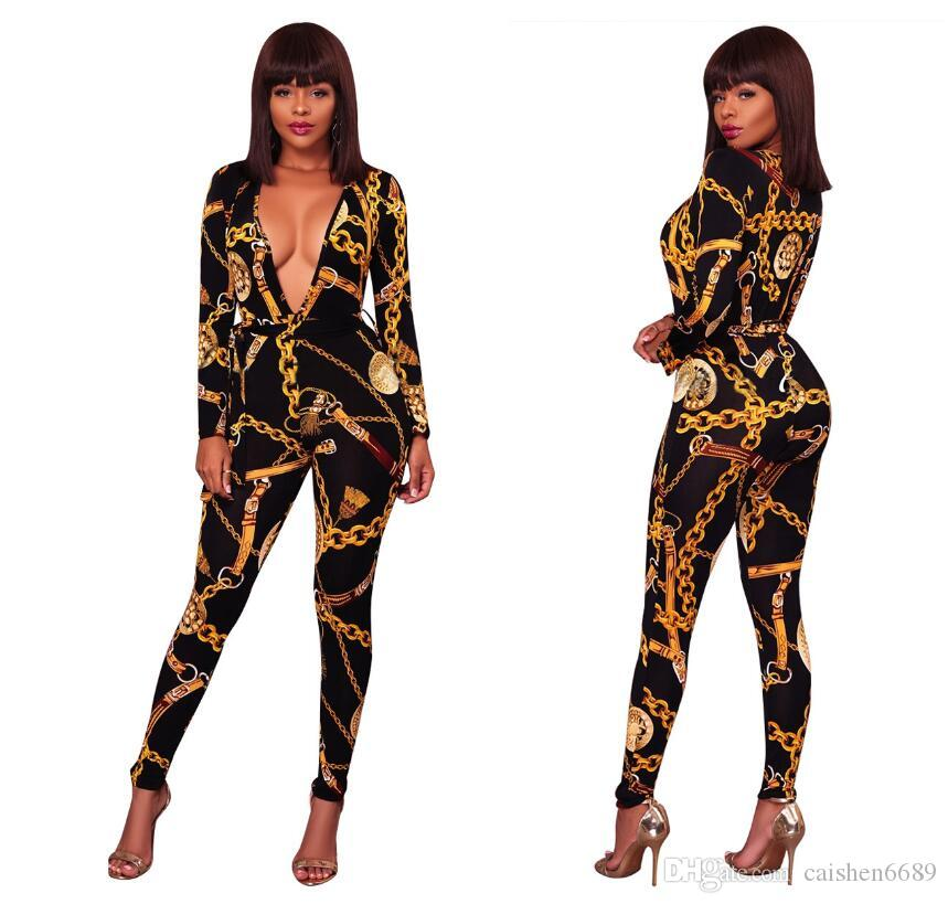 9bedbb13ce10 2018 Spring Deep V Neck Sexy Jumpsuit Gold Chain Printed Bodycon ...