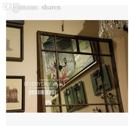 Whole Iron Full Length Mirror To Do The Old Retro Simple And Stylish Bathroom Wall Decoration Entrance Plastic Furniture Outside