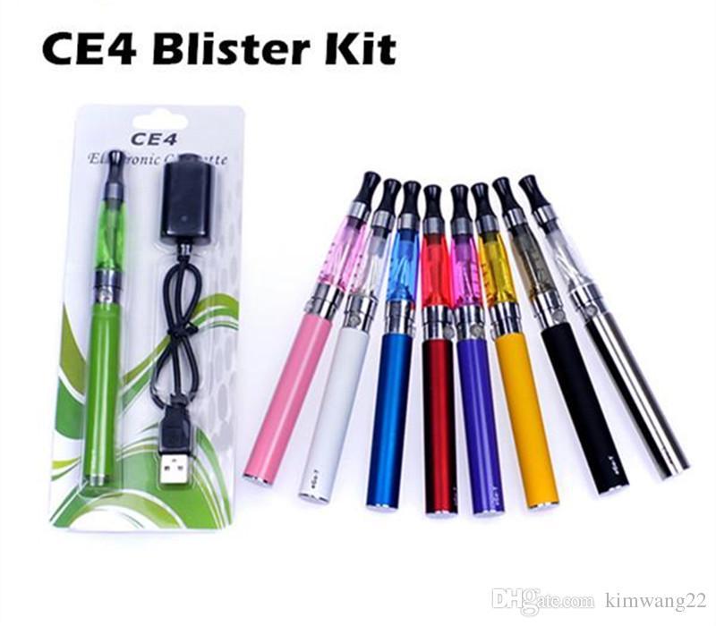 CE4 kits de Blister de Cigarro Eletrônico CE4 ego kit de arranque e cig venda quente ce4 atomizador 650 mah 900 mah 100 mah bateria em Blister DHL
