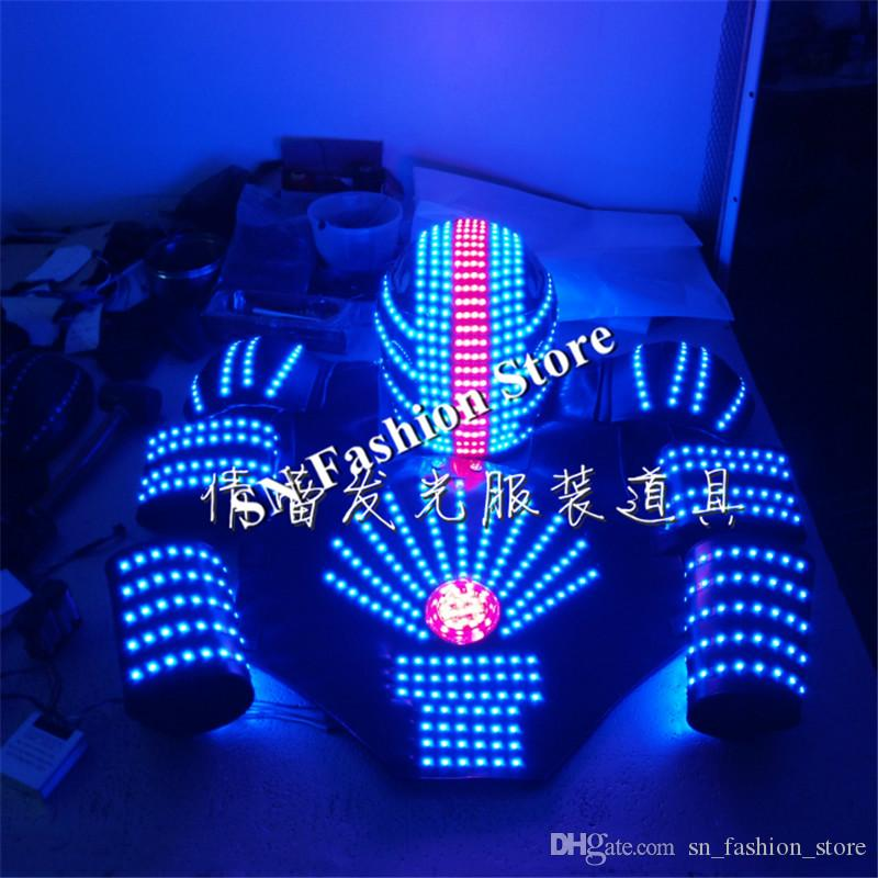 QZ07 RGB change color LED Robot Costume Nightclubs Party LED Clothing/Light suits/ singer dance stage dj wears show bar models
