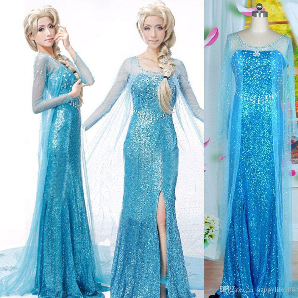 2014 2015 halloween gorgeous ladies frozen cosplay elsa princess blue party dress adult cosplay costumes - Blue Halloween Dress