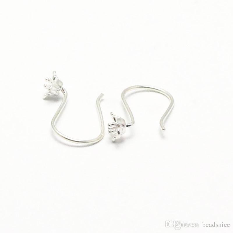 Beadsnice 925 Silver Earring Hooks French Earwire Flower Earrings Silver Jewelry Supplies Hook Earring Findings Wholesale ID 25424