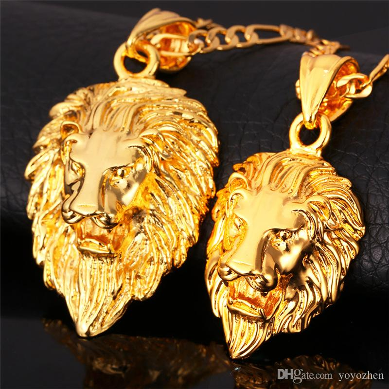 New vintage big classical lion head pendants 18k real gold plated new vintage big classical lion head pendants 18k real gold plated choker necklace floating charms jewelry wholesale vintage necklace lion head necklace gold aloadofball Choice Image