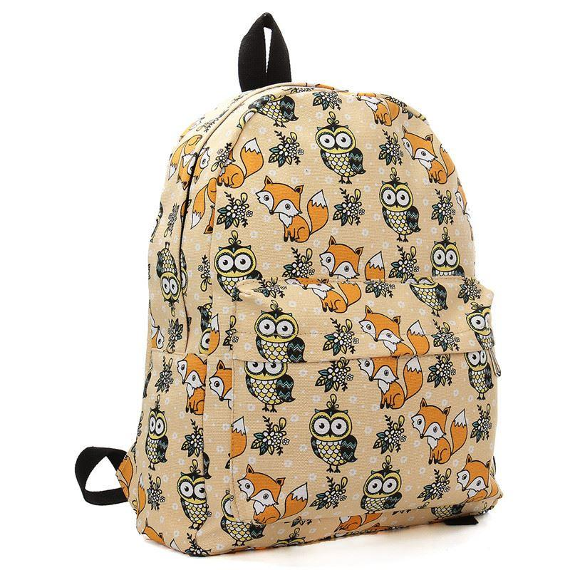 2015 Cartoon Owl Fox Girl/Boy Student Shoulder Bag Fashion Women Travel Satchel Canvas School Backpack