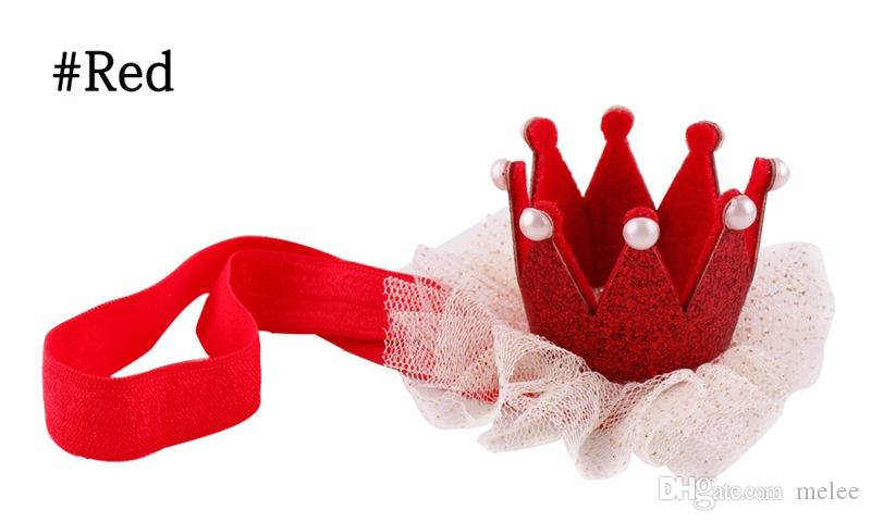 2016 Bambino Bambini Ragazze 3D Corona Fascia Baby Princess Queen Pearl Tiara Fascia capelli Fascia Crown Lace Headwear