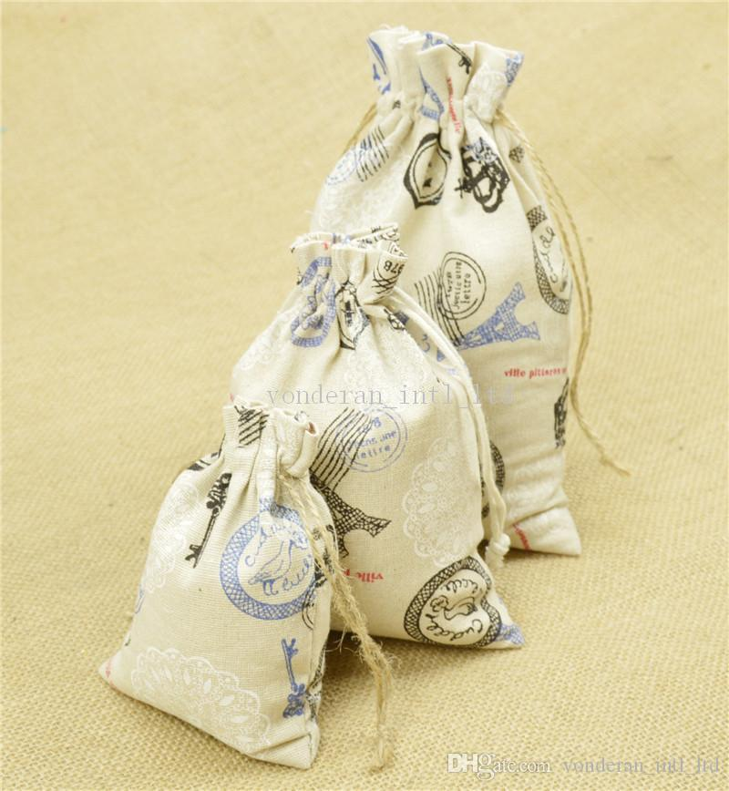 Discount 3 Sizes Linen Drawstring Bags Flower Printing Gift Cotton ...