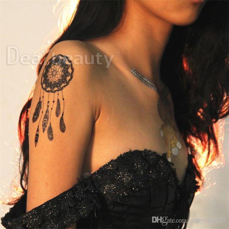 Spitze Tattoos Aufkleber Mandala Body Art Braut schwarz Hochzeit Meerjungfrau Sexy gerometrische Henna temporäre Tätowierung Aufkleber wasserdicht DHL frei