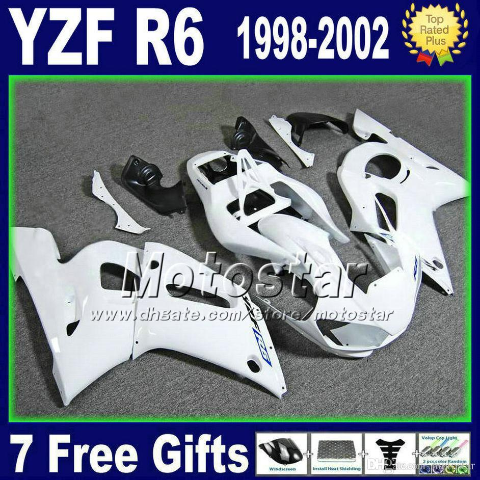 Zestaw z tworzywa sztucznego dla YZF-R6 98-02 Yamaha YZF600 YZF R6 1999 1999 2000 2001 2002 Wszystkie białe wróżki motocyklowe zestaw GG18 +7 prezenty