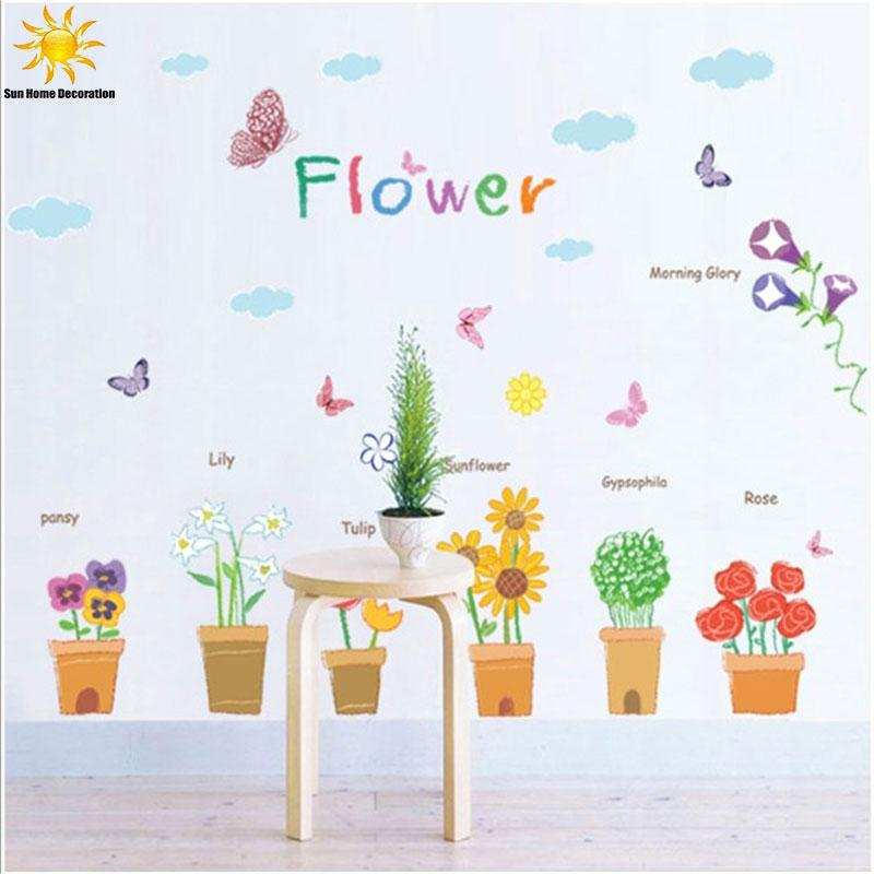 Childrenu0027S Room Decor Flower Wall Sticker For Kids Rooms Background Butterfly  Flower Pots Wall Sticker Home Decor Wall Decals Home Decor Decals Home  Decor ...