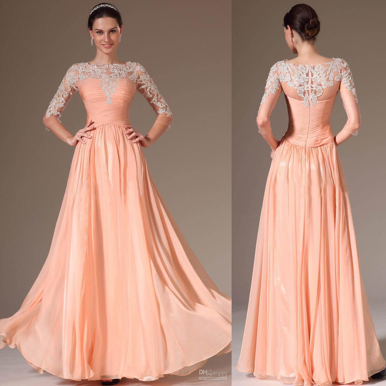 Peach Colour Prom Dresses 2015 Bateau Neck Lace 34 Long Illusion ...