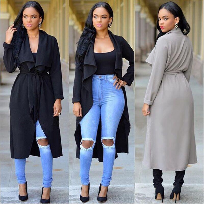 2018 2016 Fashion Women'S Trench Coats Tops Elegant Spring Autumn ...