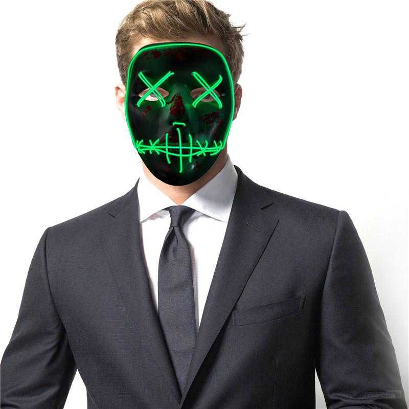 Light Up Neon Skull LED Mask para Halloween Party y concierto Scary Party Theme Cosplay Payday Series Máscaras