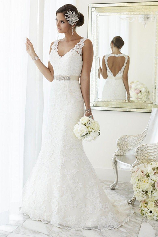 New Charming Lace sereia vestidos de casamento sem encosto sem mangas com decote em v frisado Belt Sweep trem vestidos de noiva Custom Made