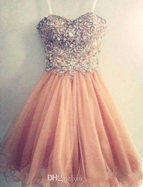 Popular Homecoming Dresses Spaghetti Strap Tulle Beaded Short Coral Prom Dress Short Junior Senior Party Dresses