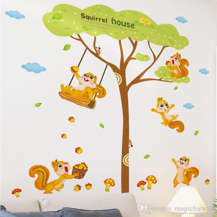 Squirrel House Wall Decal Sticker Squirrel Playing under the tree Wall Art Mural Kids Room Decor Animal Forest Wall Applique Poster