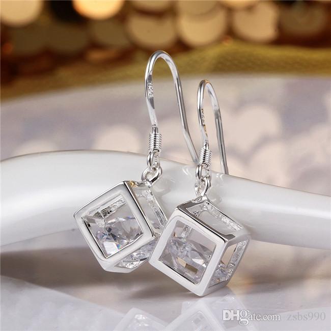 2015 تصميم جديد 925 الفضة تتدلى الأقراط مع الزركون الأزياء والمجوهرات هدية الزفاف الجميلة للمرأة شحن مجاني